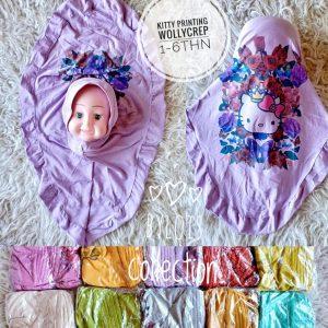 Grosir Jilbab Anak Kitty Printing