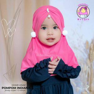Grosir jilbab anak pompom indiana
