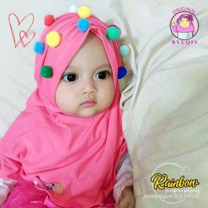 Grosir jilbab anak rainbow